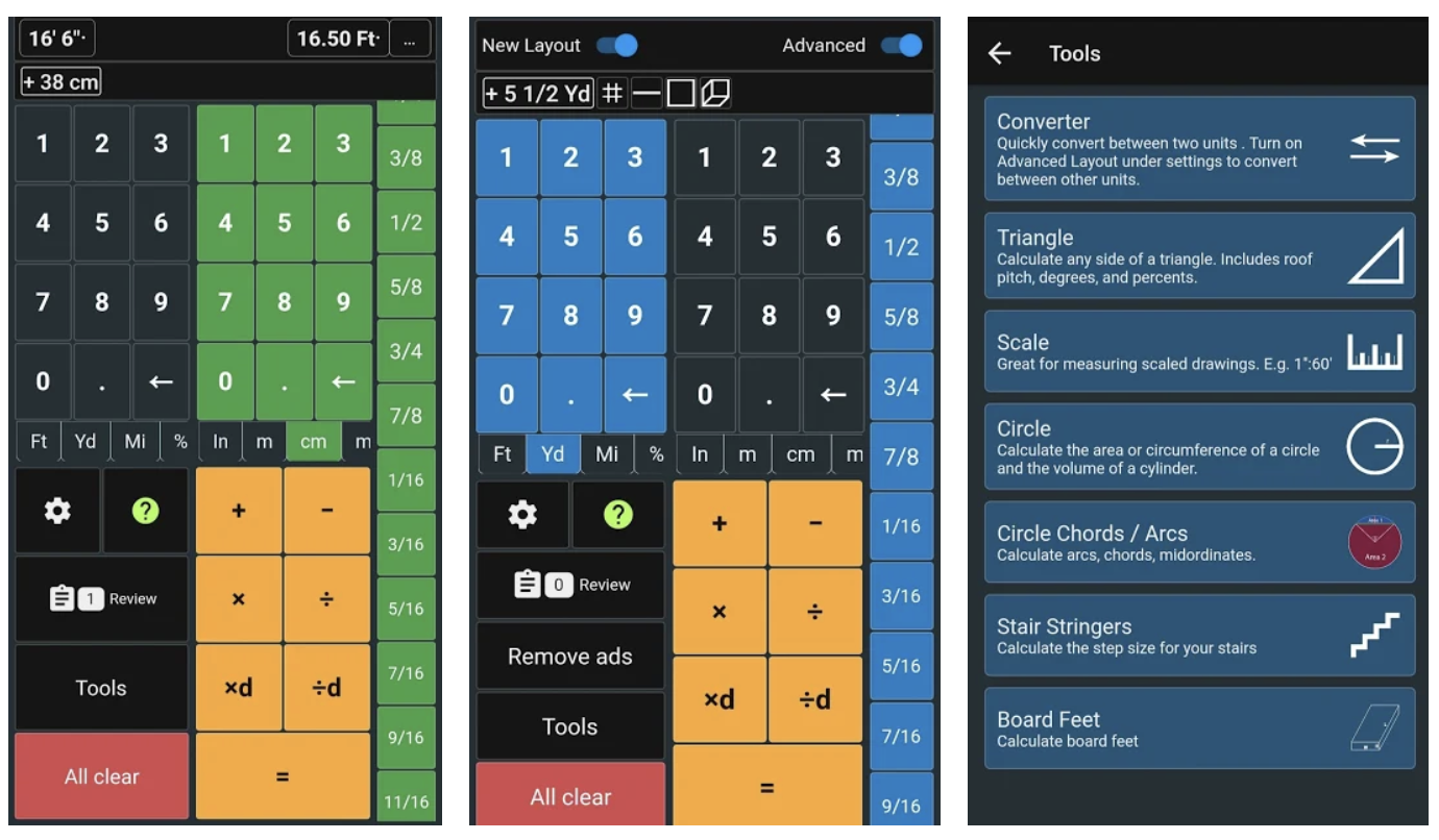 Feet and Inches Construction Calculator App Images