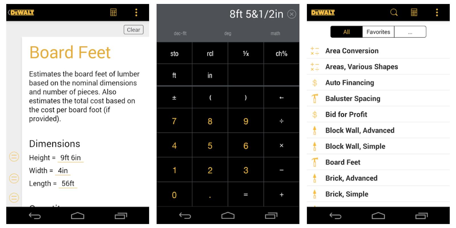 DeWalt Mobile Pro Construction Calculator App